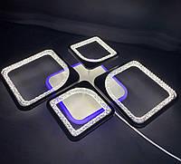 Светодиодная  люстра на 2+2 квадрата черная  65 ватт, фото 1