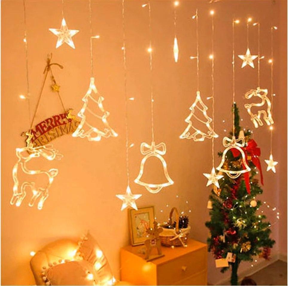 Светодиодная гирлянда штора с формами колокольчик, елка, олень 12 PCS light