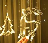 Светодиодная гирлянда штора с формами колокольчик, елка, олень 12 PCS light, фото 5