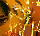 Світлодіодна гірлянда штора з формами дзвіночок, ялинка, олень 12 PCS light, фото 6