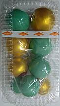 """Набір """"Кульки святкові (9шт) бірюзові/золоті"""""""