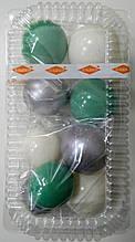 """Набір """"Кульки святкові (9шт) бірюзові/срібн/білі"""""""