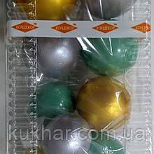 """Набір """"Кульки святкові (9шт) бірюзові/срібні/золоті"""""""