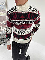 Зимний свитер шерстяной, зимний мужской свитер с оленями