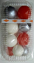 """Набір """"Кульки святкові (9шт) коралові/білі/срібні"""""""