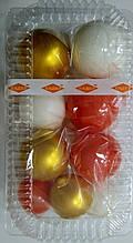 """Набір """"Кульки святкові (9шт) коралові/золоті/білі"""""""