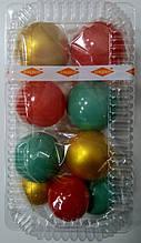 """Набір """"Кульки святкові (9шт) коралові/золоті/бірюзові"""""""