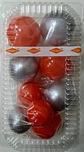 """Набір """"Кульки святкові (9шт) коралові/срібні"""""""