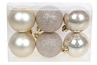 Новогодний набор шаров на елку 6см*6шт, фото 1