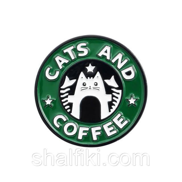 """""""Кофе кот Cats and coffee"""" значок (пин) металлический"""