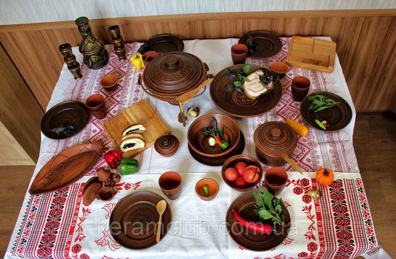 """Набор глиняной посуды на 6 персон №35 """" На природе """""""
