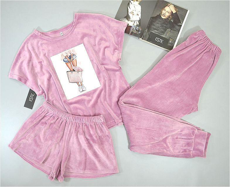 Теплая женская пижама тройка. Плюшевый комплект футболка+штаны+шорты.