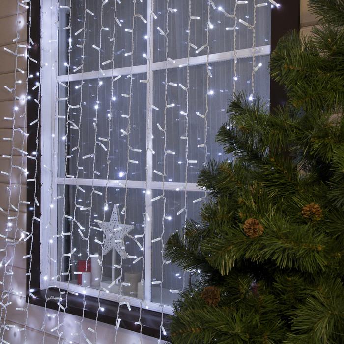 Гирлянда уличная Штора Alphatrade 3*3 м, 480 диодов, белый провод, цвет белый холодный, с мерцанием flash