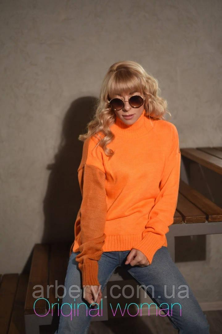 Женский яркий вязанный свитер Oversize