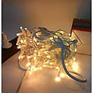 Уличная новогодняя гирлянда бахрома желтого свечения Xmas 120 LED 3,3*0,7 м (белый провод), фото 6