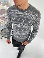 Мужской свитер олени/орнамент серый