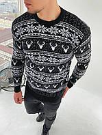 Мужской свитер олени/орнамент черный