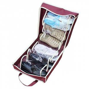 Органайзер для обуви Shoe Tote Bag Pro сумка для хранения обуви на 6 пар БОРДОВАЯ