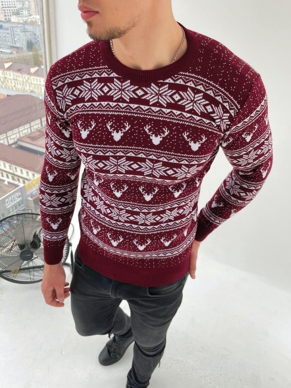 Мужской свитер олени/орнамент бордовый