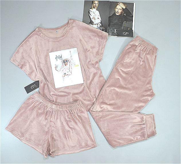 Теплая женская пижама тройка плюшевая. Футболка+штаны+шорты.