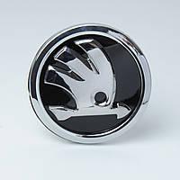 "Эмблема  ""Skoda""  90мм\Нового Образца\пластик\скотч 3М\ (Китай) (A7.A5.Rapid.Yeti)"