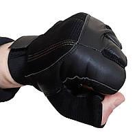 Шкіряні рукавички без пальців AL3002 з текстильними вставками