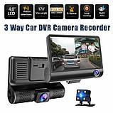"""Автомобильный видеорегистратор на 3 камеры Recorder 4 """"HD 1080P, фото 4"""
