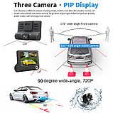 """Автомобильный видеорегистратор на 3 камеры Recorder 4 """"HD 1080P, фото 7"""