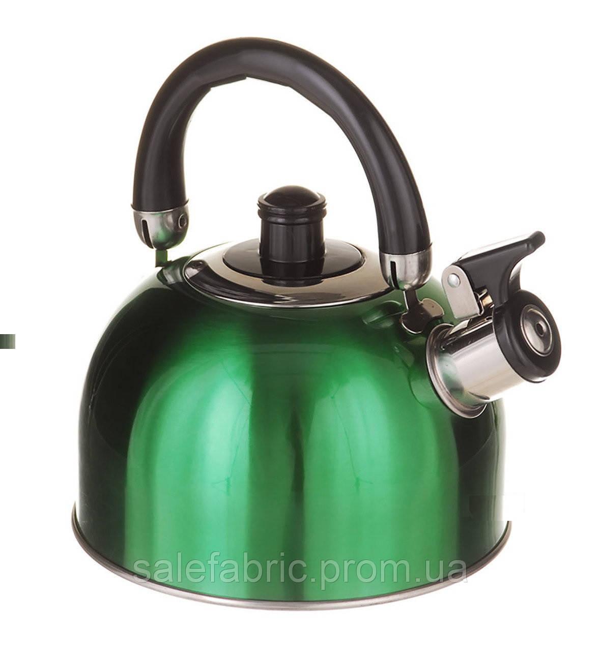 Чайник со свистком двойное дно, 2,5л. А-Плюс зеленый
