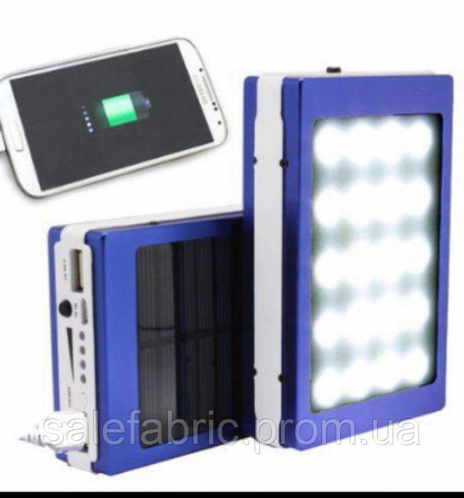 Power Bank Павер банк + мощный фонарь+зарядка от солнца