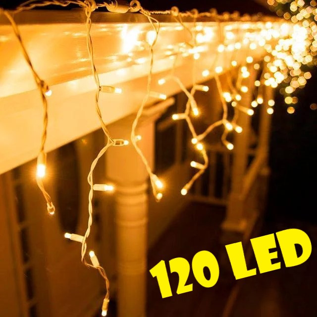 Уличная новогодняя гирлянда бахрома желтого свечения Xmas 120 LED 3,3*0,7 м (белый провод)