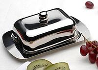 Масленка нержавеющая Berghoff 1106267 | тарелка с крышкой для масла Бергофф, емкость под масло Бергоф, фото 1