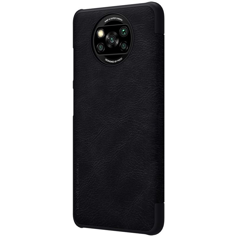 Nillkin Xiaomi Poco X3 NFC Qin leather Black case Кожаный Чехол Книжка