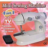 Портативная швейная машинка 4 в 1 с адаптером 220 и педалью, фото 3