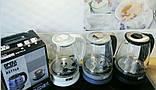 Электрический чайник стеклянный  2л OPERA с цветком, фото 2