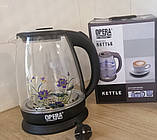 Электрический чайник стеклянный  2л OPERA с цветком, фото 4