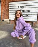 Жіночий модний молодіжний теплий костюм оверсайз трехнитка на флісі MINIMO GIRL Червоний, фото 3