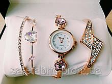 Шикарные наручные женские часы Disu сердце с ДВУМЯ  браслетами