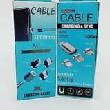 Магнитный кабель зарядки 3 в 1 с круглым разъемом micro USB, Type C, lightning, фото 4