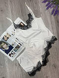 Пижама из шелка Армани с кружевом, комплект майка и шорты, фото 4