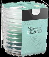 Свеча ароматизированная в стеклянном ребристом стакане, Bispol / Tricolour, Tropical Island, 28 часов горения.