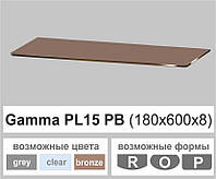 Стеклянная полка прямоугольная Commus PL15 PB (180х600х8мм), фото 1