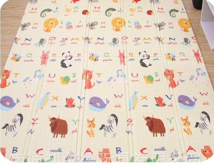 """Двухсторонний складной ПВХ коврик """"Животные"""" размер 1,5м на 1,8м Детский коврик для  ползания мягкий + подарок"""