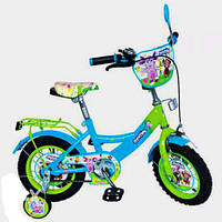 Велосипед Лунтик 12 дюймов детский двухколесный голубой, фиолетовый