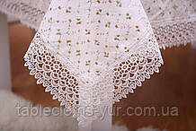 Скатерть Праздничная Лен 150-220 Белая с узором ромбики