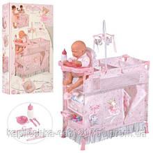 Детский игровой манеж для кукол. Столик для кормления, аксессуары, подвесные игрушки. DeCuevas 53029