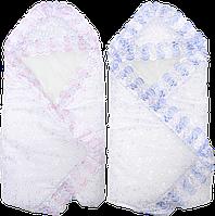 Конверт-одеяло на выписку (летний), верх батист, подкладка хлопок, на синтепоне, с рюшем, 80х80