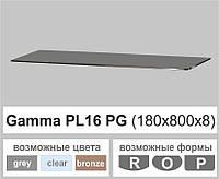Скляна полиця настінна навісна універсальна прямокутна Commus PL16 PG (180х800х8мм), фото 1