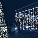 Уличная новогодняя гирлянда бахрома белого холодного свечения Xmas 120 LED 3,3*0,7 м (белый провод), фото 2
