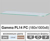 Полиці скляні настінні навісні прямокутні Commus PL14 PC (180х1000х8мм), фото 1